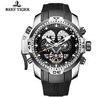 Reef Tiger orologio da uomo complicato quadrante nero gomma Acciaio orologio RGA3503