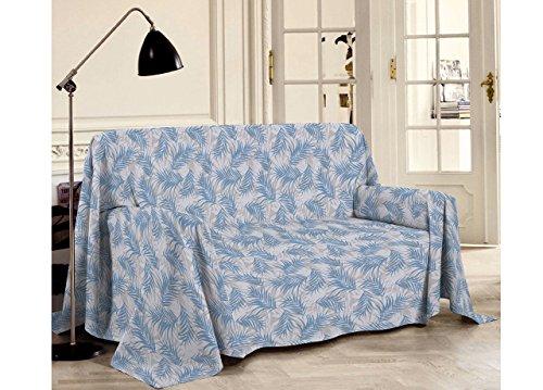 BIANCHERIAWEB Drap ameublement en 100% Coton Ligne Best Collection Dessin Palmiers Matrimoniale Bleu Ciel