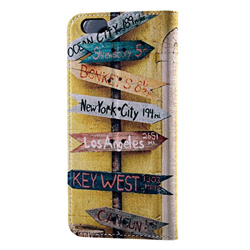 HB-Int 4 in 1 Apple iPhone 6 Finestra Flip Custodia Case Protettiva Portafoglio Stand Accessori Colorato Case Carta Geografica Modello Custodia Book Style Magnetico Flip PU Portafoglio Leather cassa i Cartello Stradale