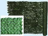 Künstliche Hecke aus PU, Efeu, Rolle 1x 20 m,612g/qm, 800Blätter/qm, mit festem Ständer
