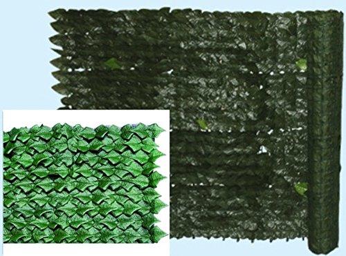 Siepe finta artificiale Edera Evergreen rotolo mt 1x20 612 gr/mq 800 foglie/mq supporto rigido