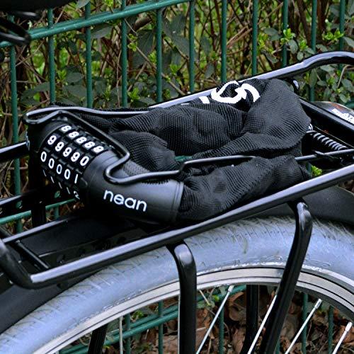 nean Fahrrad-Ketten-Schloss, Zahlen-Code-Kombination-Schloss, Stahlkettenglieder, schwarz, 6 mm x 900 mm - 8
