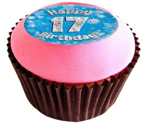 12 X 17TH BIRTHDAY BLUE 38mm (1.5 Inch) PRE CUT CUP CAKE TOPPERS Essbare Tortendekoration Reis Papier Kuchen Dekoration