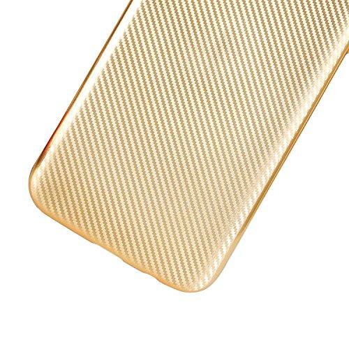 Vandot Etui Transparent Case pour Samsung Galaxy S7 Edge Coque de Protection en TPU Gel Invisible avec Absorption de Chocs Etui TPU Silicone Case Ultra Slim Thin Hull pour Samsung Galaxy S7 Edge Soupl Fibre de Carbone-Or
