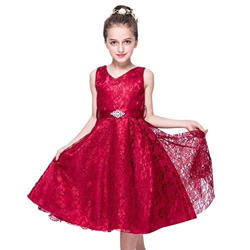 Free Fisher Mädchen Abendkleid Spitzenkleid, Weinrot, Gr.146(Herstellergröße: 150cm)
