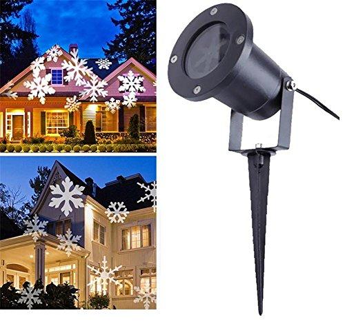 LUCKY CLOVER-A Navidad Proyector de copo de nieve giratorio lámpara de techo LED espumoso paisaje luz de Halloween de vacaciones en casa escenario jardín al aire libre decoración de la pared (IP 44)