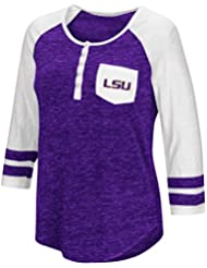 """LSU Tigers NCAA Women's """"Inconceivable"""" 3/4 Sleeve Henley Shirt Chemise"""