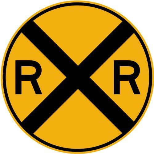 Street & Traffic Sign Wall Decals - Rail Road Crossing Symbol Sign - 24 inch Removable Graphic by Wallmonkeys Wall Decals