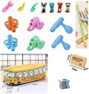 Cuddlez-18 pieces Set Finger Grippers writing tool for Kids/Ergonomic Posture Corrector Pencil Grip Holder/ 13