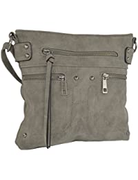 Grey Edgy Faux Leather Zippered Messenger Crossbody Side Bag Purse, Long Strap By Rising Phoenix Industries