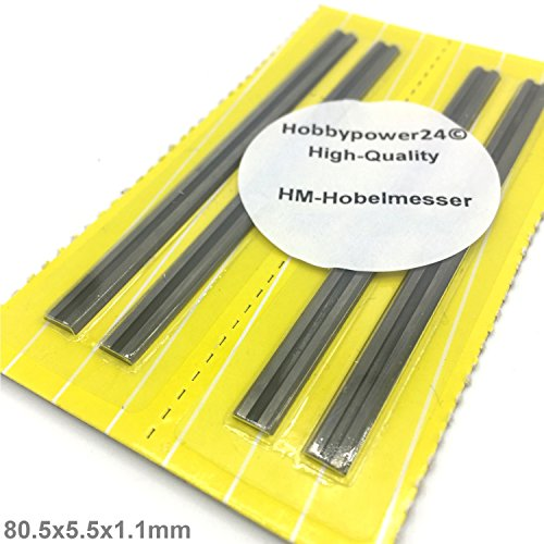 4x HM Hartmetall Hobelmesser Wendemesser 80,5mm für Hobel Elektrohobel AEG DEWALT ELU