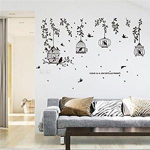 wandaufkleber wandtattoos Ronamick DIY Birdcage Removable Wandtattoo Familie Home Aufkleber Wand Kunst Home Decor (Multicolor)
