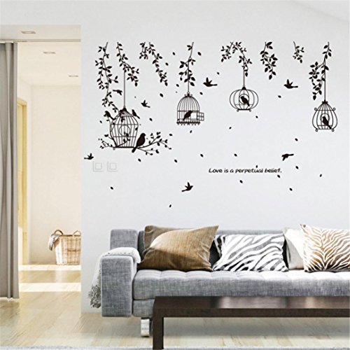 wandaufkleber wandtattoos Ronamick DIY Birdcage Removable Wandtattoo Familie Home Aufkleber Wand Kunst Home Decor (Multicolor)