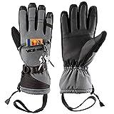 LOHOTEK Skihandschuhe Herren Winter Ski-Handschuhe für Männer und Frauen - Winddichtes Touchscreen-Design für Außenbereich (Grau, XL)