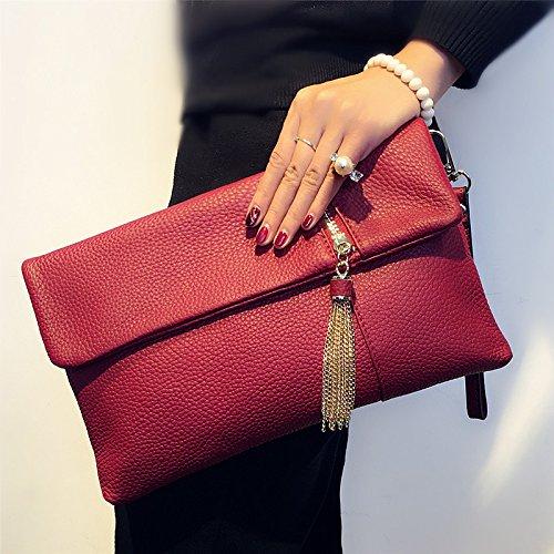 Leder Geldbörse Geldbeutel Handtasche Leder Quasten fashion Tasche Tasche, Rosa Lila claret