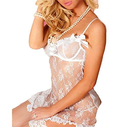 Rosfajiama Lencería Ropa interior de 2 piezas Correa de Encaje para Mujer Pijama con tanga blanco (M)