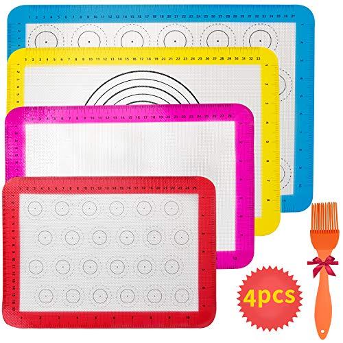 4 Stück Silikon-Backmatte, Macarons-Backmatte, rutschfeste, wiederverwendbare, hitzebeständige Antihaftbeschichtung, BPA-freies, langlebiges Backblech - wiederverwendbares Backpapier für jede Familie