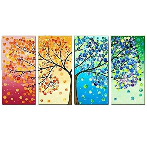 Pintura decorativa de la sala de estar creativa, pintura colgante del hogar de la manera, pintura cuadruple colorida del árbol de cuatro estaciones para adornar su hogar hermoso., 50 * 70 (cm) * 4 (con el marco)