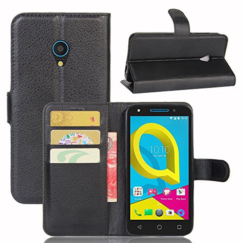 Hülle Alcatel U5(4G) + 1 x Panzerglas, EUGO PU Ledercase Tasche Hüllen Schutzhülle Scratch Magnetverschluss Telefon-Kasten Handy hülle Standfunktion Handycover