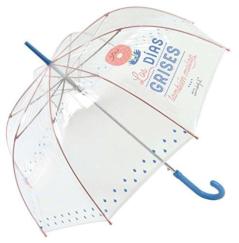 """Paraguas largo transparente Mr. Wonderful """"Los días grises también molan"""""""