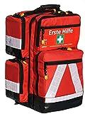 Notfallrucksack in rot aus Nylon LEER von Team Impuls mit 4 Außentaschen