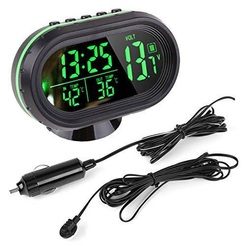 Temperatur-digital-thermometer (Auto Uhr Thermometer Temperatur Messgerät Spannung digitale LED beleuchtete DC 12V ~ 24V von Enshey)