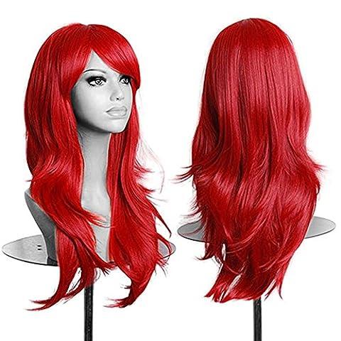 Mode Frauen Mädchen lange Synthetik Haar Gelockt Wavy Perücke Cosplay Party volle Perücke Rot