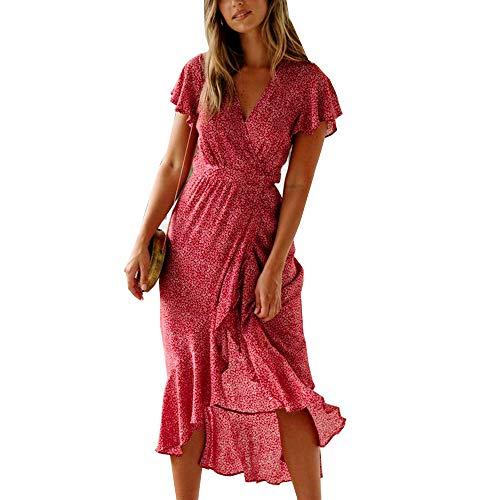 ACLOIN Damen Elegant Wickelkleid Blumen Kleid v-Ausschnit Rüschen Kleider Boho Strandkleid Sommerkleid (Rot, M)