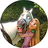 Dolce idea CIALDA in ostia Disney RAPUNZEL Personalizzabile Forma Rotonda Diam. 20 cm, Decorazione per Torta