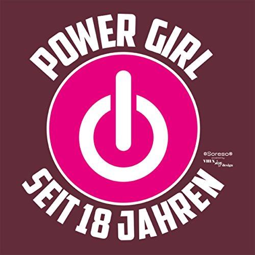 Coole Geschenkidee Damen T-Shirt Power Girl Woman Seit 18 Jahren Geschenk zum 18. Geburtstag Motiv: Powerzeichen Burgund