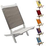 2x Kinder Klappstuhl aus Holz in grau weiß Nadelstreifen, schöner stabiler Faltstuhl, Ideal für Camping Ausflüge, Garten Kindersitzgruppe, Kinder-Stuhl 2er Set