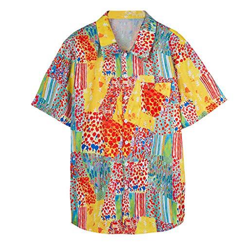 Xmiral T-Shirt Kurzärmliges Hemd mit Nähten für Herren Mode Gedruckte Umlegekragen Shirt Farbig Herren Slim-Fit Crew Neck Basic T-Shirt(Rot,XXL)