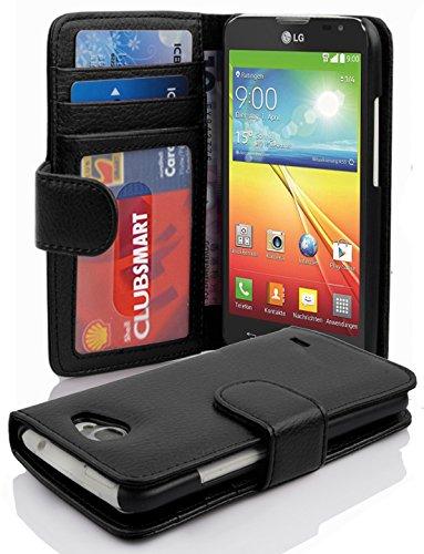 Cadorabo Hülle für LG L90 Hülle in Handyhülle mit 3 Kartenfächern Case Cover Schutzhülle Etui Tasche Book Klapp Style Oxid Schwarz