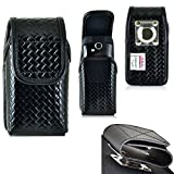 N.Y.C. Law Enforcement Rugged Police Basketweave Genuine Leather Duty Belt Case with Hook and Loop Closure for Motorola Tundra Va76r.