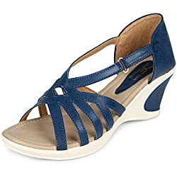 XE Looks Women's Blue Synthetic Leather Comfortable Wedges Sandals (340-7815, Size: 5 UK/India, 38 Euro)