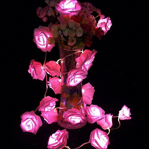 ILOVEDIY 2.5 Mètres 20-LED Guirlande Lumineuse Forme de Fleurs Rose (rose)