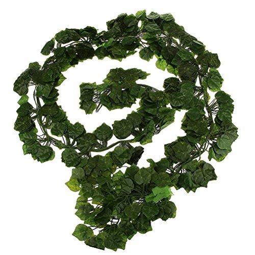 OULII Künstliche Ivy Vine Fake hängende Pflanze Blätter Girlande Hausgarten Wand Dekoration Hochzeit Girlanden Poison Ivy Kostüm Hochzeit Dekor 12pcs