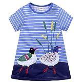Baby Mädchen Prinzessin Kleid Mädchen Jerseykleid mit Streifen Crewneck Kleid (18-24 Monate, Blau - Ente)