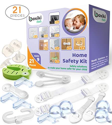 Kindersicherheits-Kit 21 Stück von Boxiki Kids. 4 Eckenschutz, 4 Steckerschutz, 2 Anti-Tipp Möbelgurte für Zuhause. Baby Proofing Kit mit 6 Kindersicherheitsschlössern für zu Hause. - 6 Stück Akzent Möbel