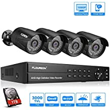 FLOUREON DVR Video Kit de vigilancia (8CH 1080N AHD DVR + 4 *1080P 3000TVL