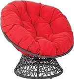 CAIXIN Overstuffed Cuscino della Sedia,Solido Thick Confortevole Papasan di Grandi Dimensioni,Rotondo Sedia di Vimini Uovo Sedia Non Incluso-Rosso D105cm(41inch)