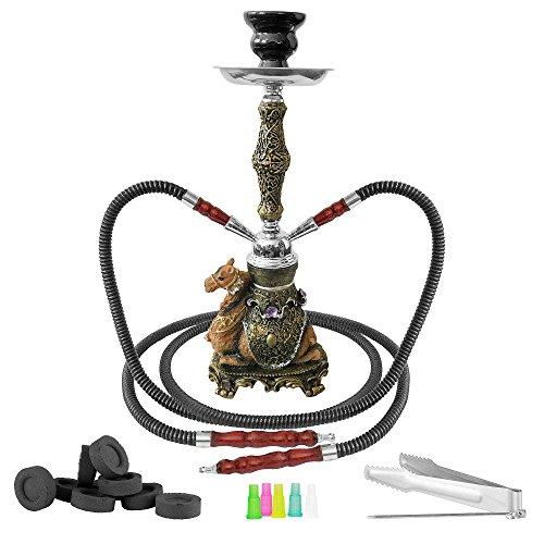 Mianova® Orientalische Shisha Wasserpfeife Hookah 2 Schläuche 42cm Kamel Set inkl. Kohle, 5 Mundstücke und Zange Vintage Antik Look Gold Schwarz