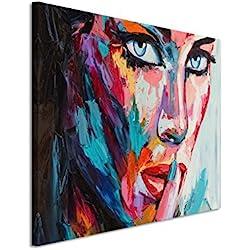 Paul Sinus Art XXL Fotoleinwand 120x80cm Buntes modernes Ölgemälde – Frau mit blauen Augen auf Leinwand exklusives Wandbild moderne Fotografie für ihre Wand in vielen Größen