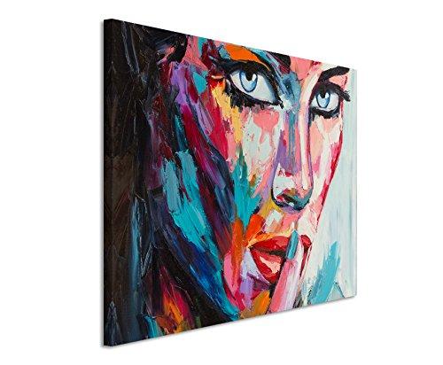 Paul Sinus Art XXL Fotoleinwand 120x80cm Buntes modernes Ölgemälde - Frau mit blauen Augen auf Leinwand exklusives Wandbild moderne Fotografie für ihre Wand in vielen Größen