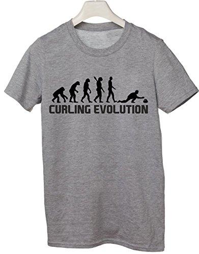Tshirt Curling Evolution - evolution - curling - sport - humor - in cotone Grigio