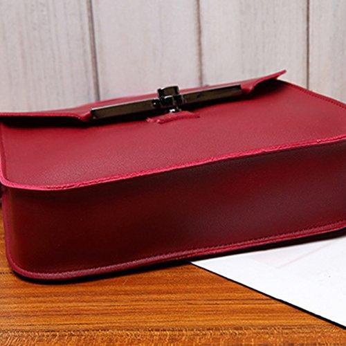 Heheja Ragazza Semplice Colore Solido Messenger Bags Borsa a Tracolla Rosso