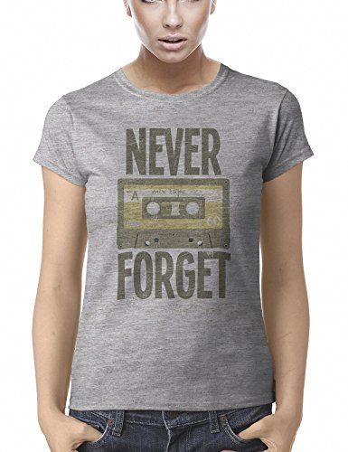 Never Forget Retro Music Cassette Tape Funny Camiseta para Mujer Womens Fit T-Shirt