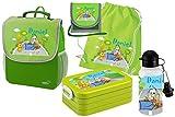 Mein Zwergenland Set 6 Kindergartenrucksack mit Brotdose, Turnbeutel aus Baumwolle, Trinkflasche und Brustbeutel Happy Knirps NEXT mit Name Bagger, 5-teilig, Grün