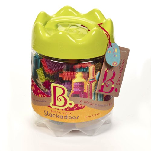 B toys - Bristle Blocks Stackadoos - 68 Toy Blocks in a Storage Jar - BPA Free Building Blocks STEM Toys for Kids 2 years +