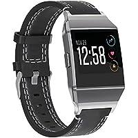 SnowCinda Fur Fitbit Ionic Leder Armband, Verstellbares Ersatzarmband Damen Herren Leder Uhrenarmband Fitness Zubehorteil mit Edelstahl Steckverbinder und Metallschliese